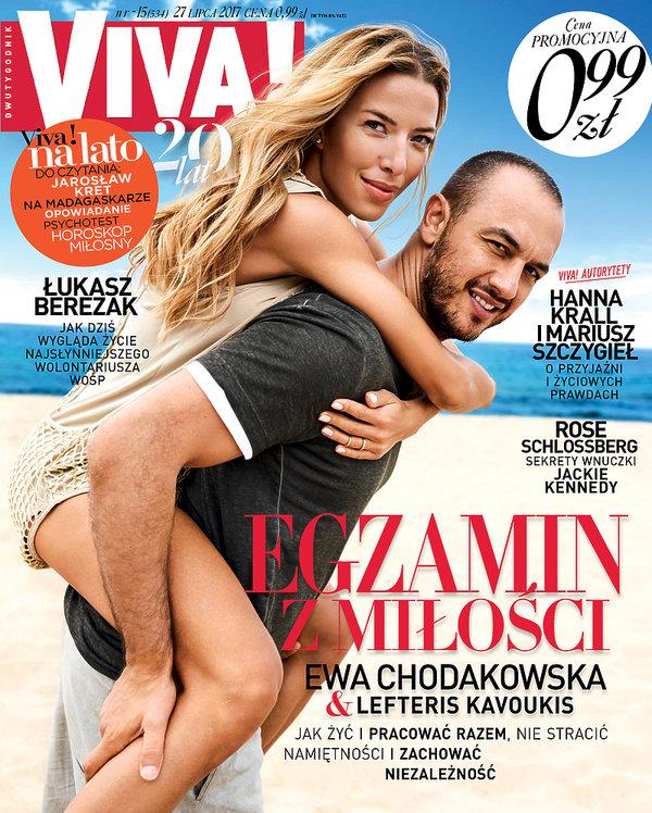 Ewa Chodakowska, Lefteris Kavoukis, VIVA! lipiec 2017, okładka, 15/2017