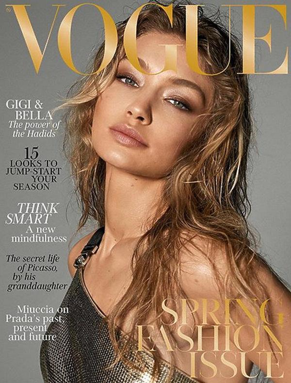 """Gigi Hadid, Gigi Hadid na okładce """"Vogue'a''"""