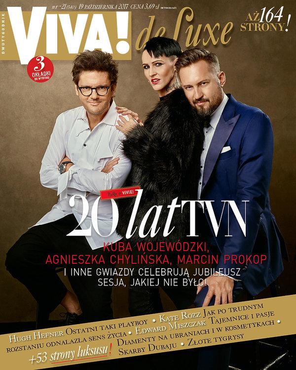Kuba Wojewódzki, Agnieszka Chylińska, Marcin Prokop, VIVA! październik 2017, okładka