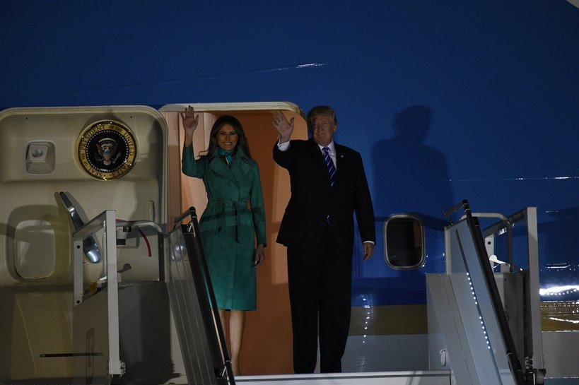 Melania Trump, Donald Trump, Melania i Donald Trump w Warszawie