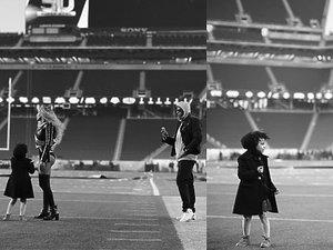 Beyonce z z córką i mężem na Super Bowl