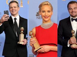 Złote Globy 2015, Leonardo DiCaprio, Lady Gaga, Kate Winslet, Jennifer Lawrence, Matt Damon w ręku ze statuetką złotego globa w ręku