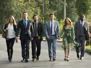 "(L-R) ANNABELLE WALLIS as Rebecca Crosby, JON HAMM as Bob Callahan, JAKE JOHNSON as Randy ""Chilli"" Cilliano, ED HELMS as Hogan ""Hoagie"" Malloy, ISLA FISHER as Anna Malloy and HANNIBAL BURESS as Kevin Sable in New Line Cinema's comedy ""TAG,"" a Warner Bros"