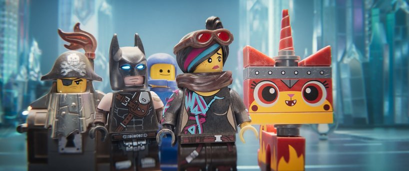 (L-R) MetalBeard (NICK OFFERMAN), Batman (WILL ARNETT), Benny (CHARLIE DAY), Lucy/Wyldstyle (ELIZABETH BANKS) and Ultrakatty (ALISON BRIE) in a scene from the animated adventure