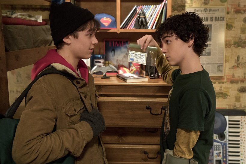(L-r) ASHER ANGEL as Billy Batson and JACK DYLAN GRAZER as Freddy Freeman in New Line Cinema's action adventure