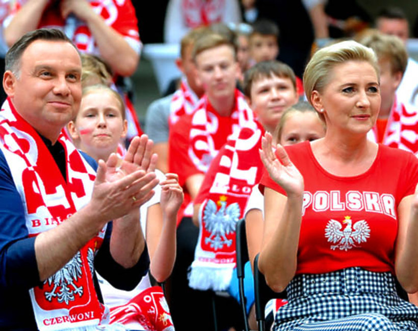 Agata Duda i Andrzej Duda kibicują Polakom