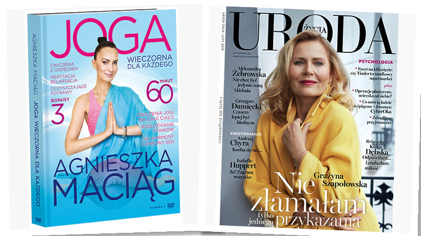Agnieszka Maciąg, DVD joga wieczorna, Grażyna Szapołowska, okładka Uroda Życia, luty 2018