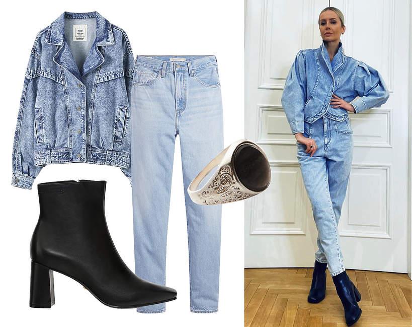 Agnieszka Woźniak-Starak w modnych jeansowej stylizacji na wiosnę 2021