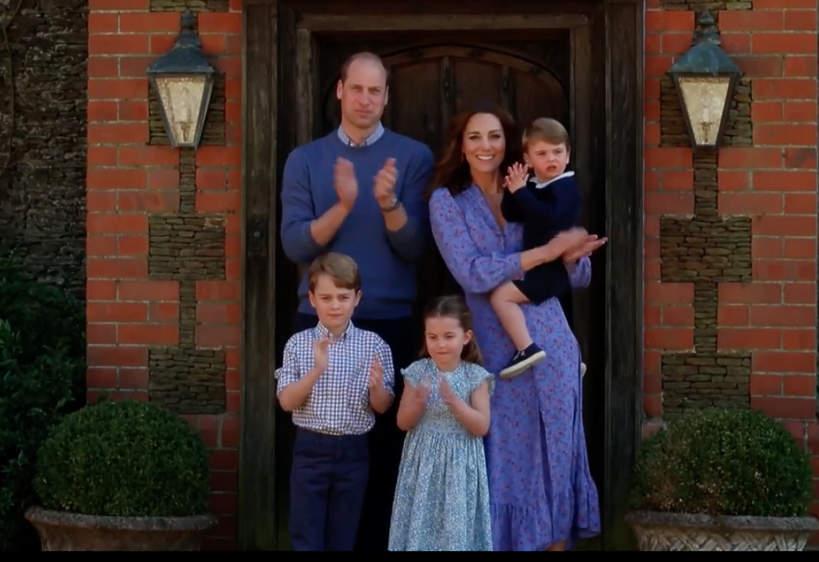 akcja #clapforcarers Kate i William z dziećmi, księżna kate dzieci, książę George, księżniczka Charlotte, książę Louis
