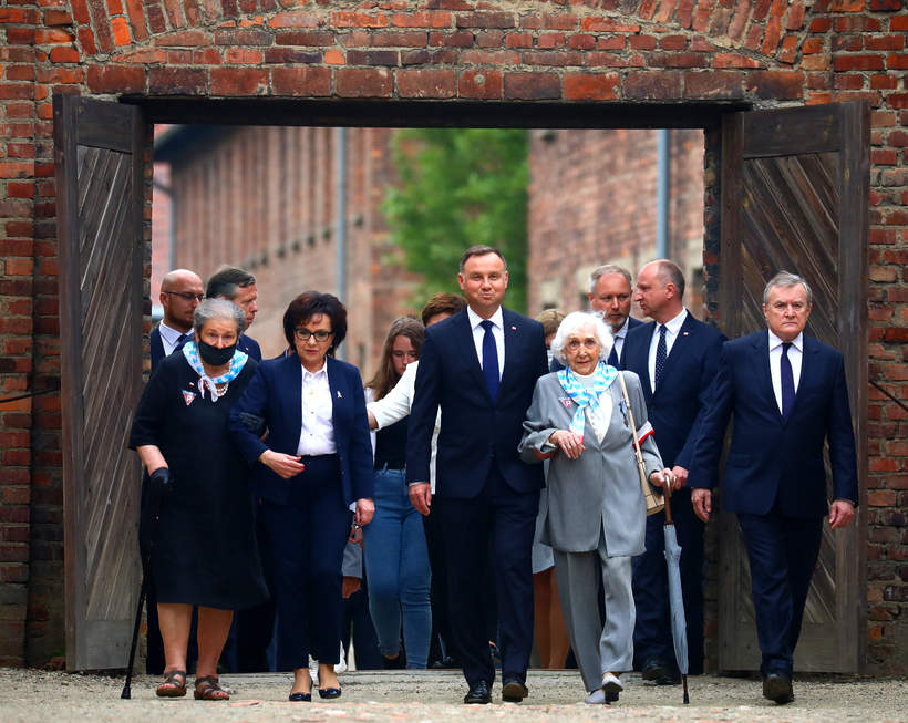 Andrzej Duda, Lucyna Adamkiewicz, obchody 80. rocznicy pierwszego transportu polskich wiezniow do KL Auschwitz, 2020