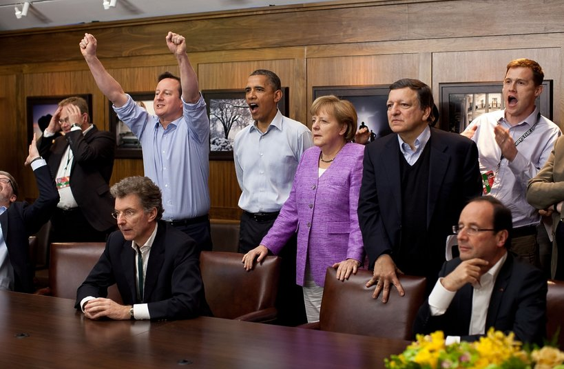 Angela Merkel, David Cameron, Barack Obama, José Manuel Barroso, Francois Hollande w Camp David