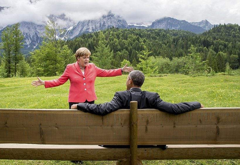 Angela Merkel i Barack Obama w Bawarii