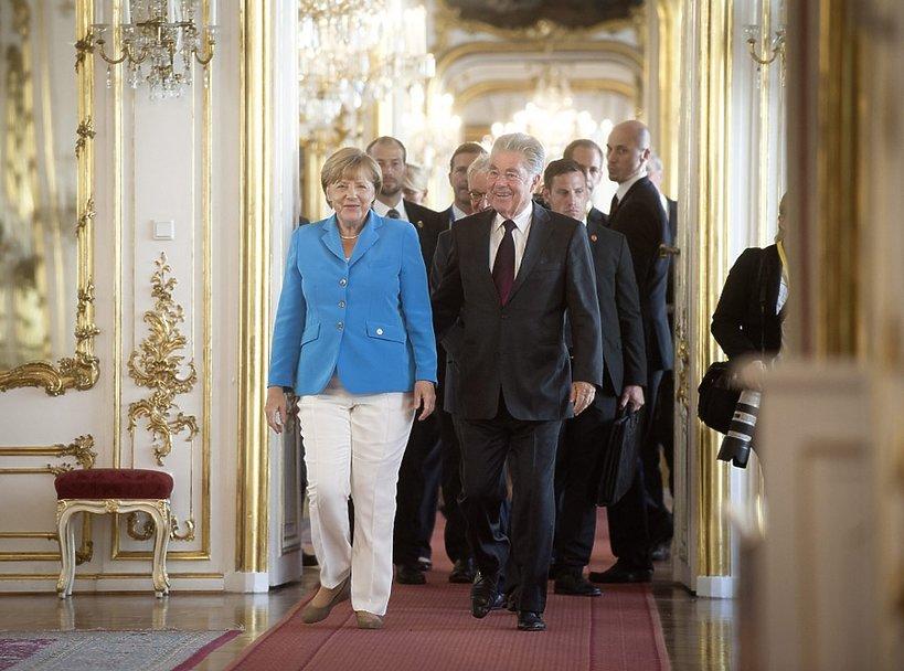 Angela Merkel i prezydent Austrii Heinz Fischer w Wiedniu, Austria, sierpień 2015