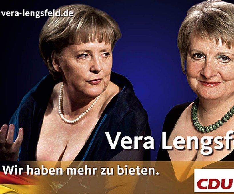 Angela Merkel i Vera Langsfeld reklamują CDU w wyborach