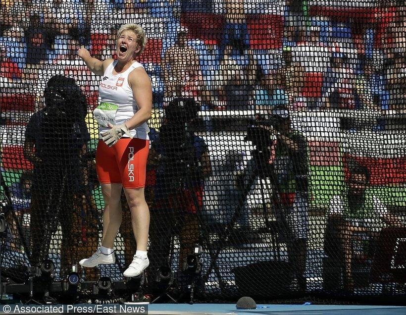 Anita Włodarczyk radość po rekordowym rzucie