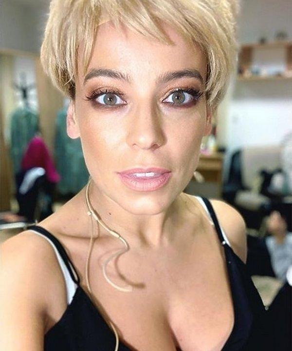 Anna Mucha w makijażu i bez