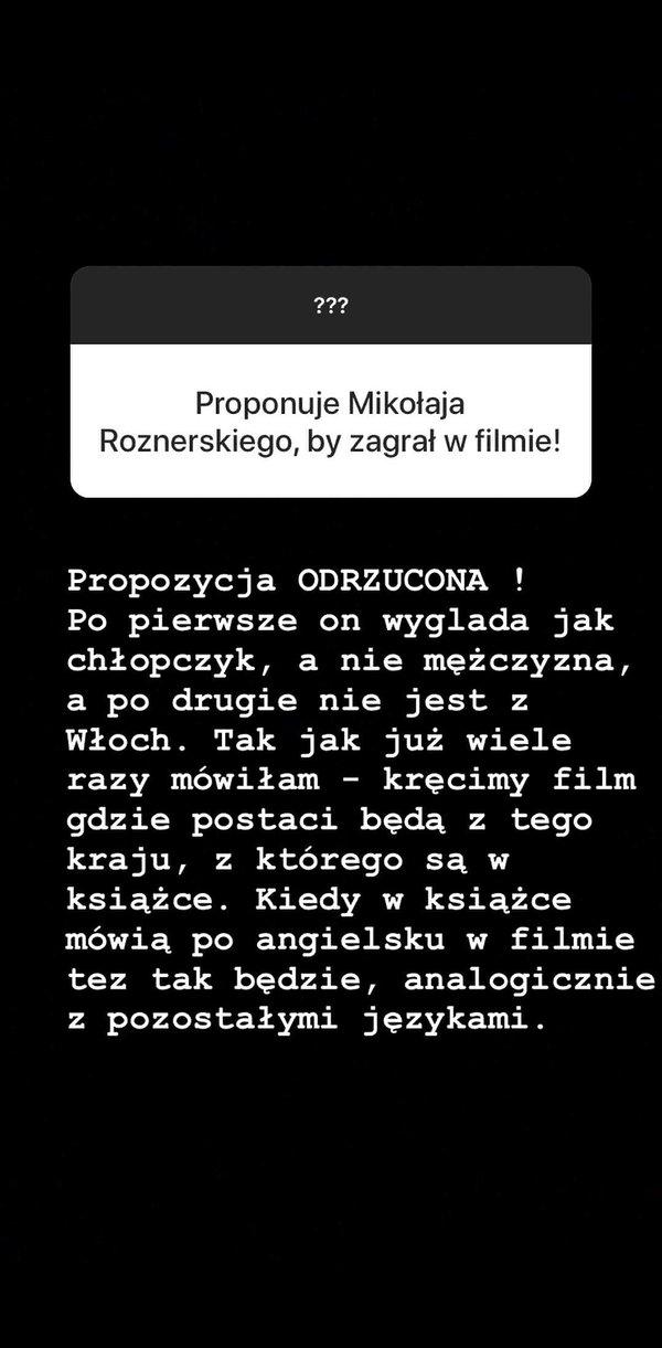 Blanka Lipińska o Mikołaju Roznerskim