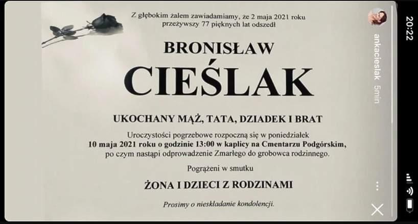 Bronisław Cieślak, kiedy odbędzie się pobrzeb