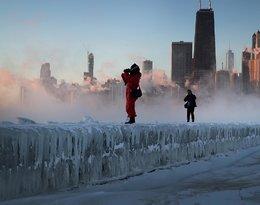 Chicago skute lodem, zima w Chicago