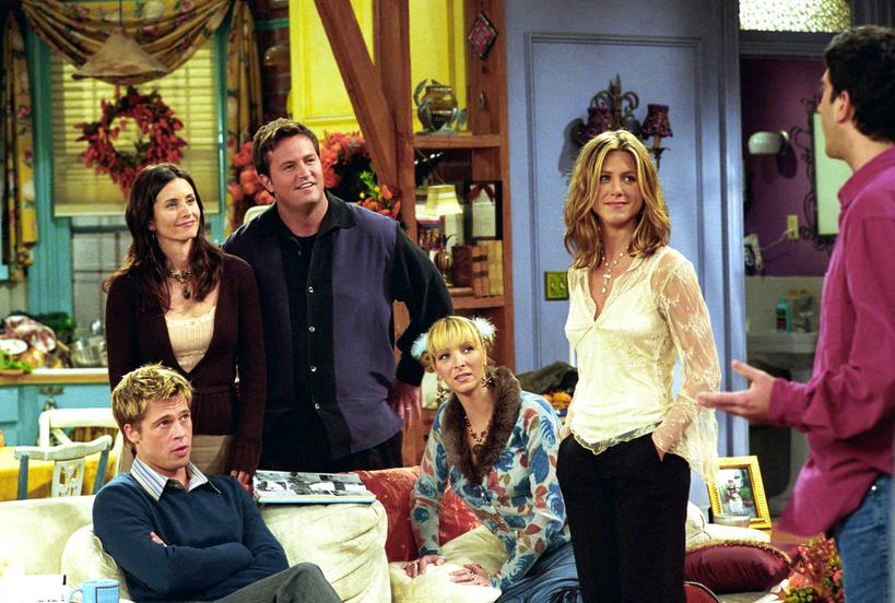 Courtney Cox, Matthew Perry, Jennifer Aniston, Brad Pitt, Lisa Kurdow, Friends, Przyjaciele