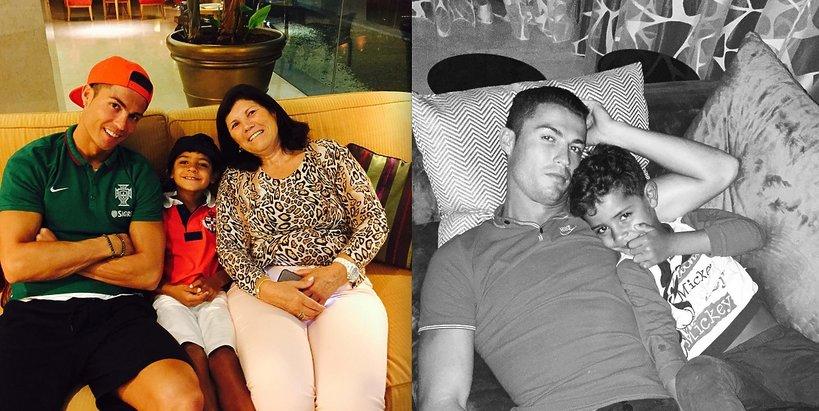 Cristiano Ronaldo z mamą i synem