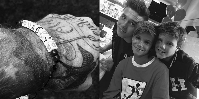 David Beckham i jego synowie: Brooklyn, Romeo i Cruz
