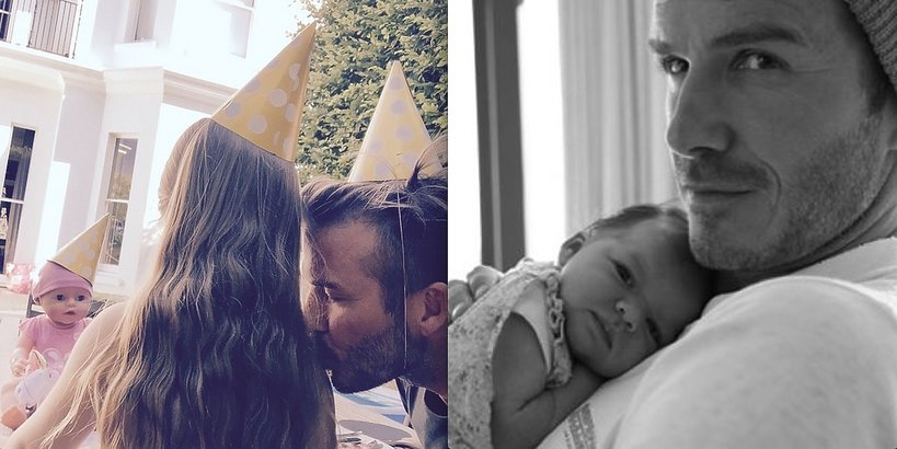 David Beckham z córką, Harper Seven, tuż po urodzeniu i w dniu 4 urodzin