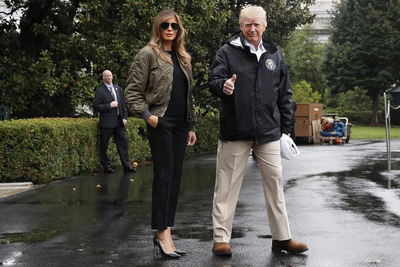 Donald i Melania Trump w drodze do Teksasu