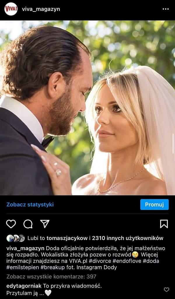 Edyta Górniak komentuje rozwod Dody