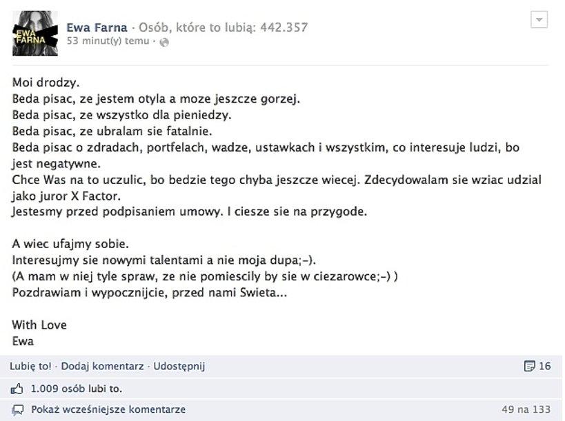 Ewa Farna Facebook