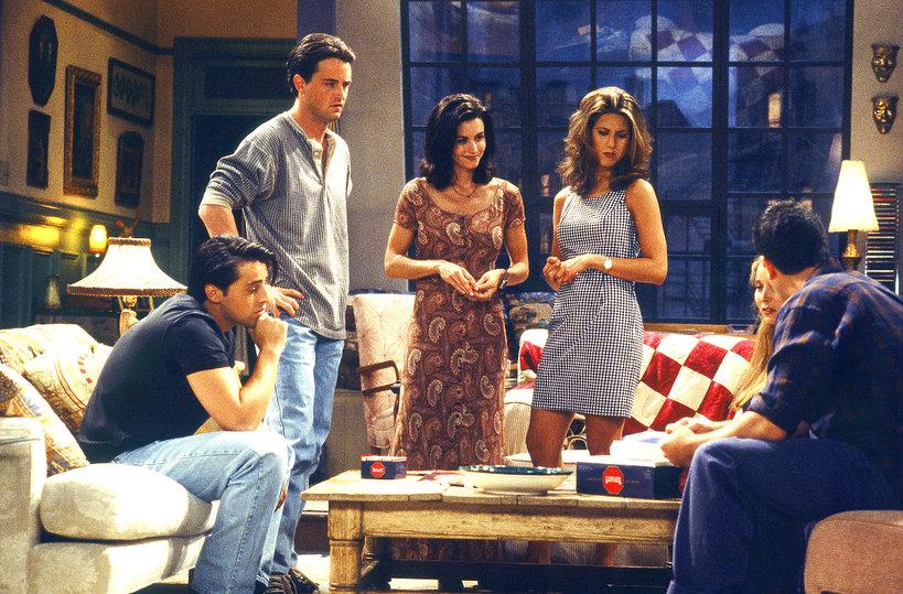 Friends, styl, Jennifer Aniston, Courteney Cox, Matthew Perry, Matt LeBlanc