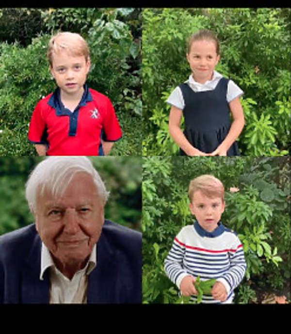 George, Charlotte, Louis, David Attenborough