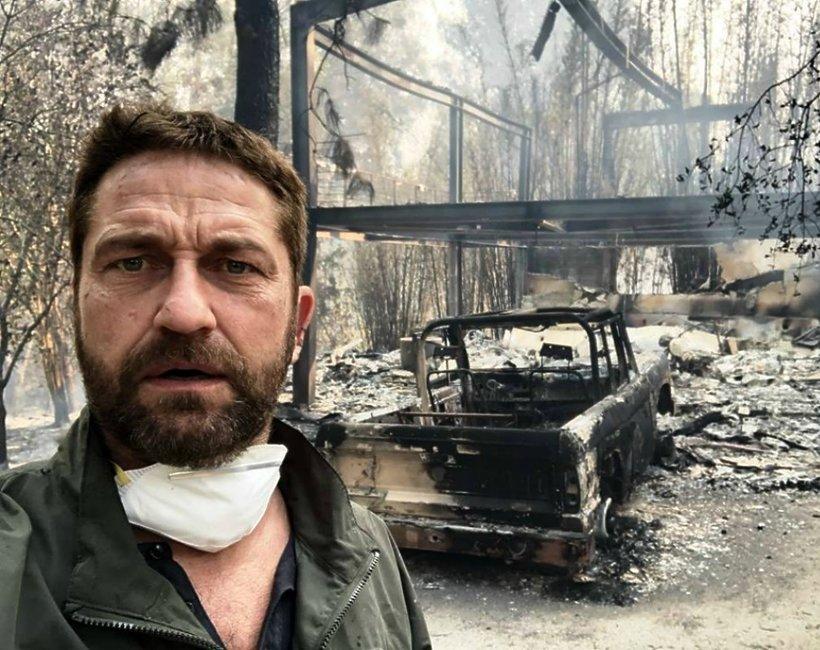 Gerard Butler, spalony dom, pożar