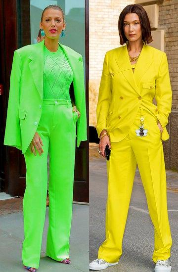 gwiazdy w kobiecych kolorowych garniturach