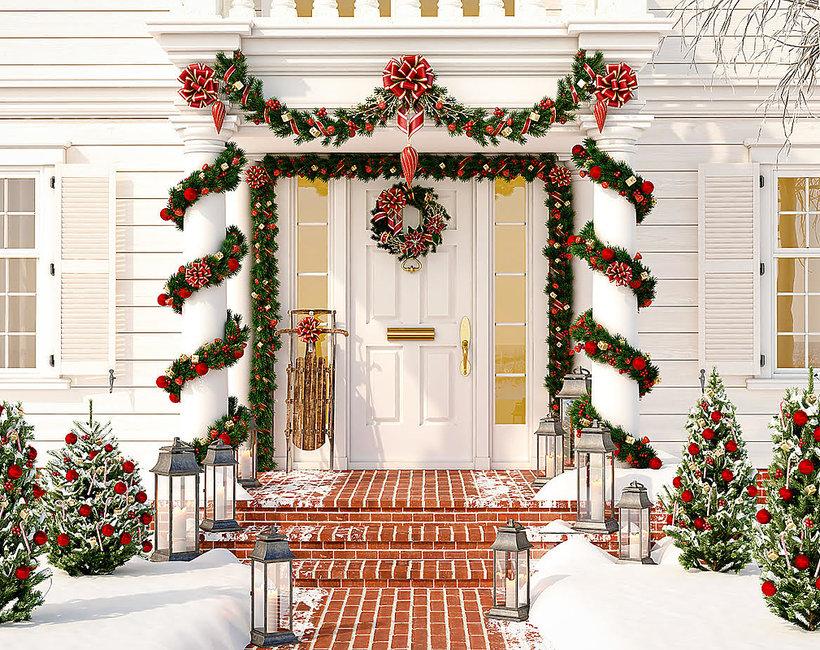 jak amerykanie dekorują domy na święta