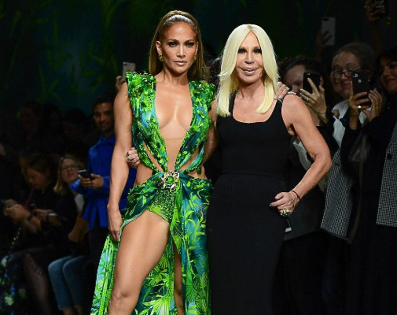 Jennifer Lopez, Donatella Versace, Milan Fashion Week