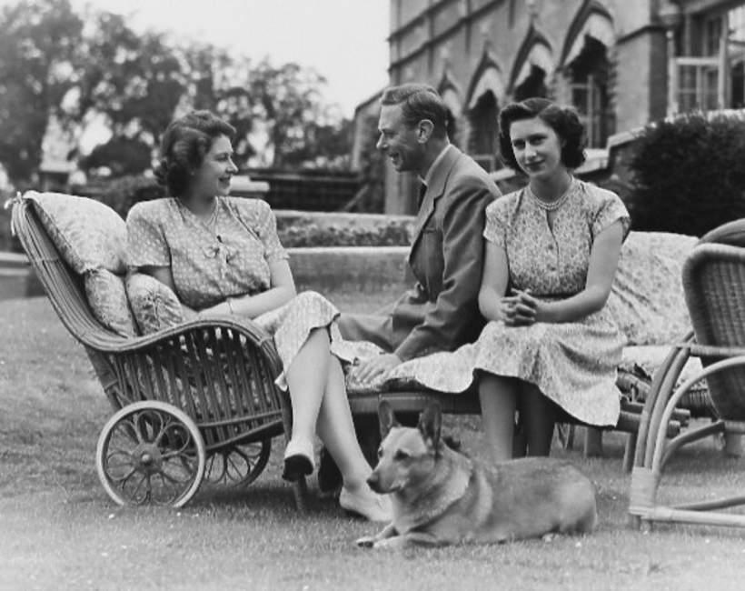 Jerzy VI Windsor z córkami Elżbietą i Małgorzatą
