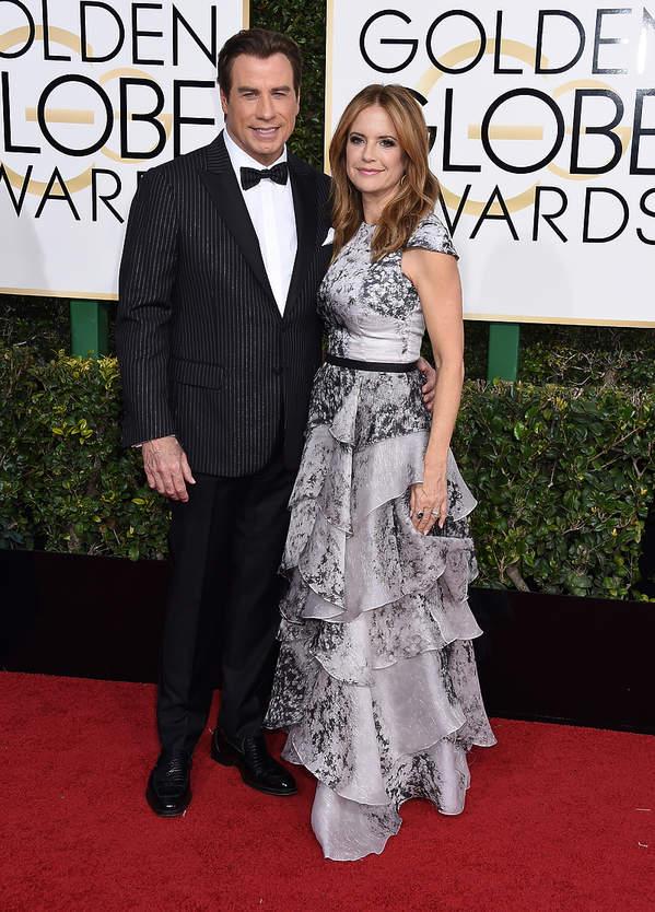 John Travolta i Kelly Preston na rozdaniu Złotych Globów