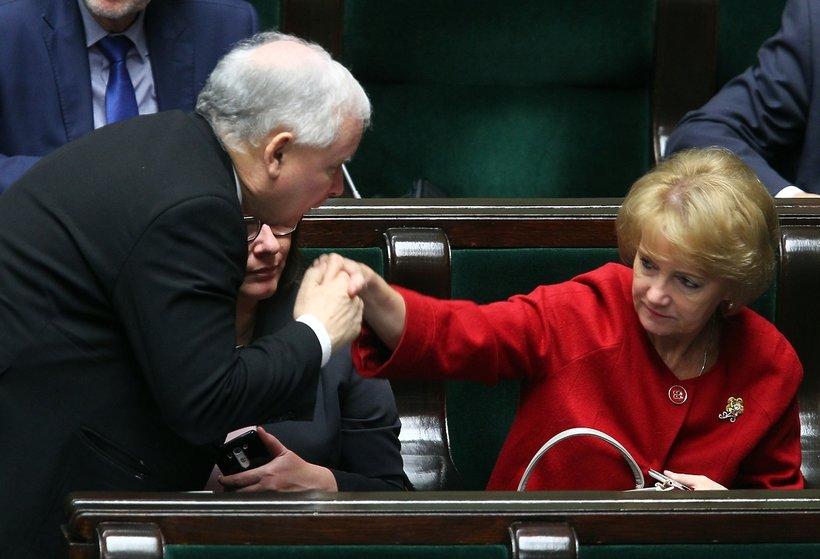 Jolanta Szczypińska z Jarosławem Kaczyńskim