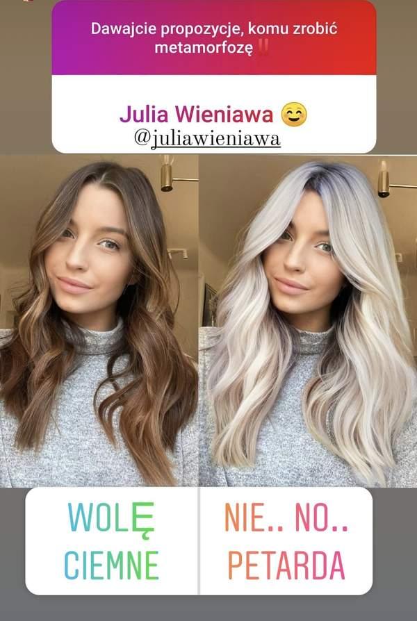Julia Wieniawa blond włosy 2021