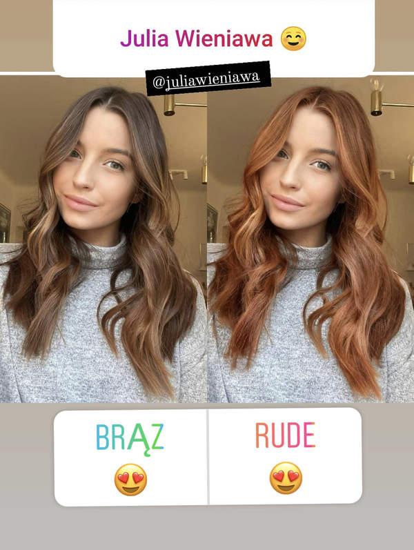Julia Wieniawa rude włosy 2021