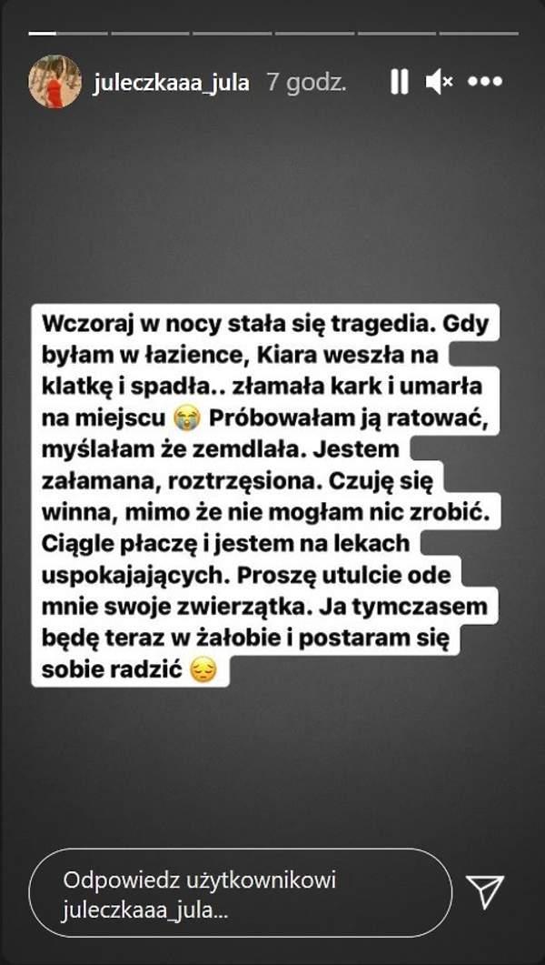 Julia Wróblewska zalana łzami obwinia się o tragiczny wypadek.