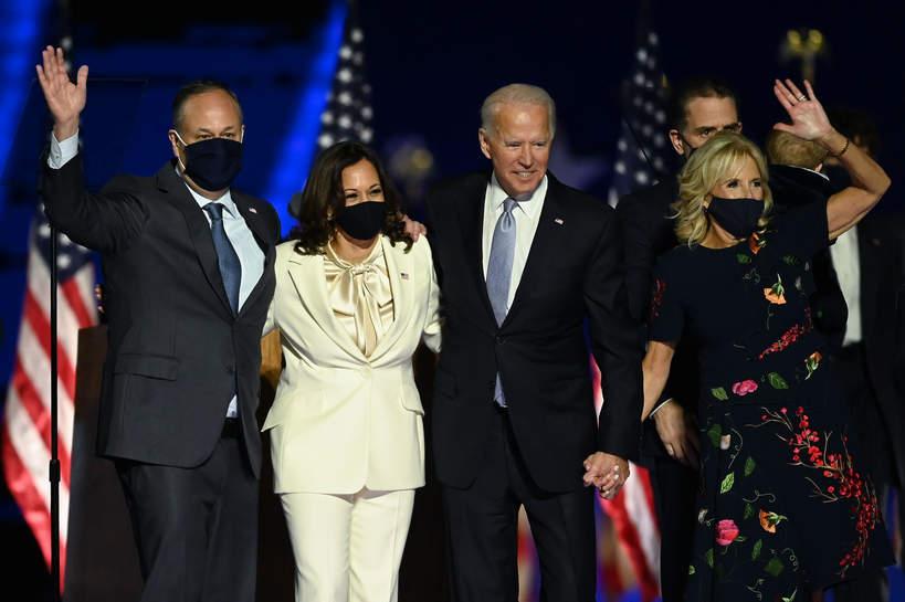 Kamala Harris z mężem, Joe Biden z żoną
