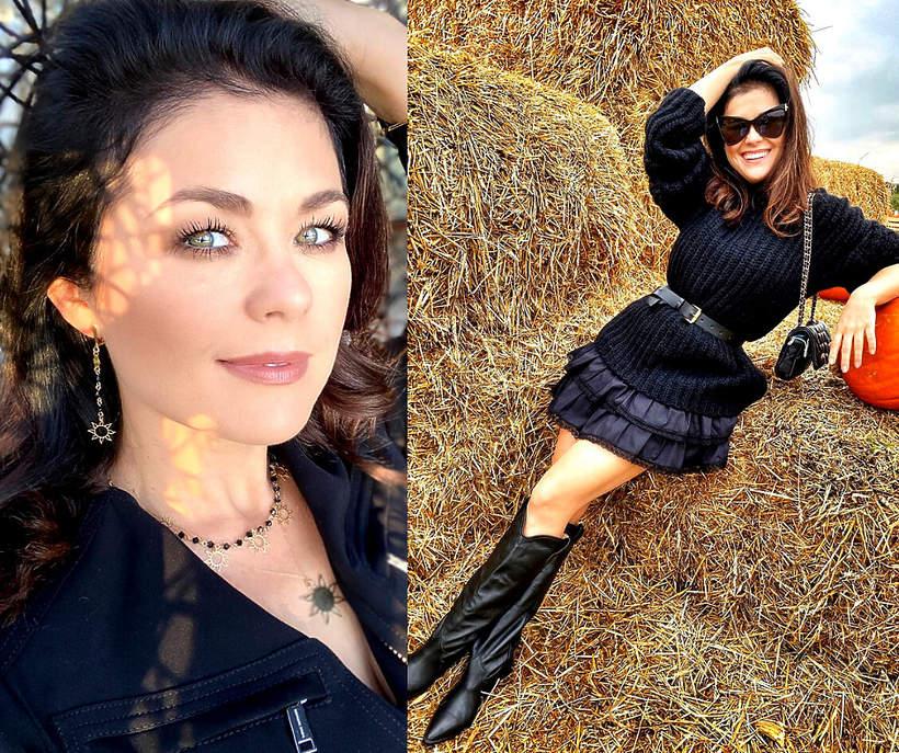 Kasia Cichopek w czerni na farmie dyn