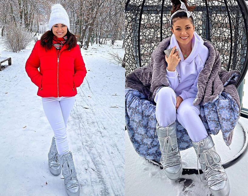 Katarzyna Cichopek w śniegowcach moon boot