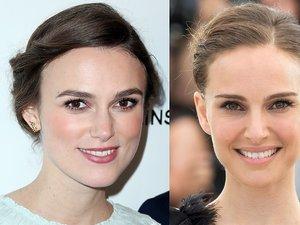Keira Knightley i Natalie Portman porównanie dwóch portretów pokazyjących, że są podobne do siebie