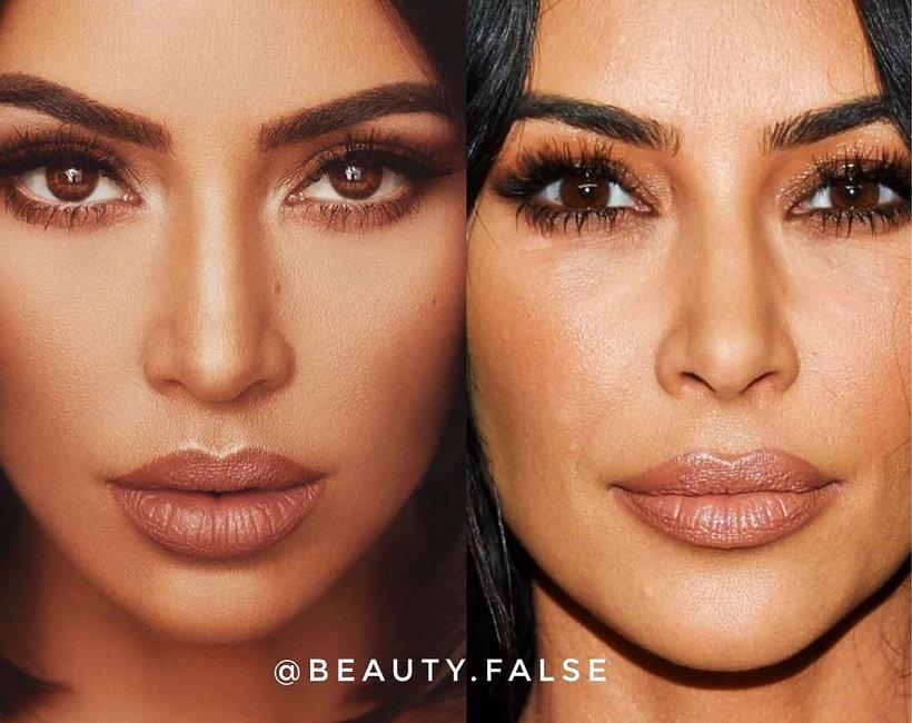 Kim Kardashian przed i po retuszu