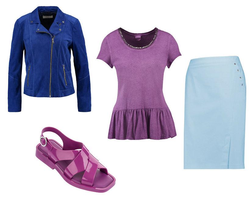 kolaż stylizacja błękitna spódnica i fioletowa bluzka