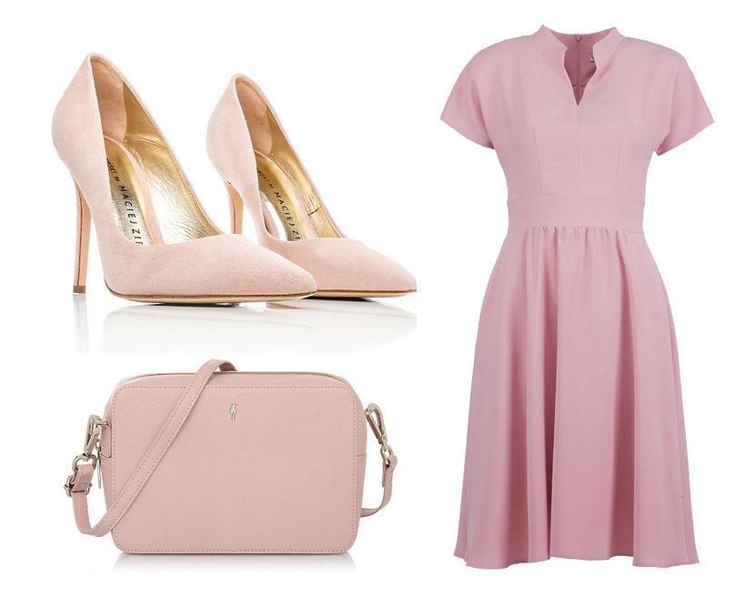 kolaż stylizacja sukienka w kolorze pudrowego różu ze szpilkami i torebką