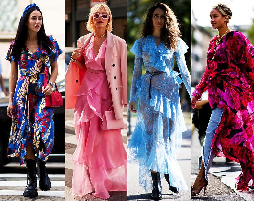 kolorowe falbany sukienki 2021